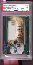 2015 Topps Strata Adrian Gonzalez Game Used Jersey 75/75 Autograph AUTO Graded Card PSA 7