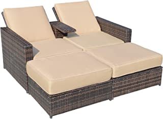 Outsunny Outdoor 3-Piece PE Rattan Wicker Patio Love Seat Lounge Chair Set