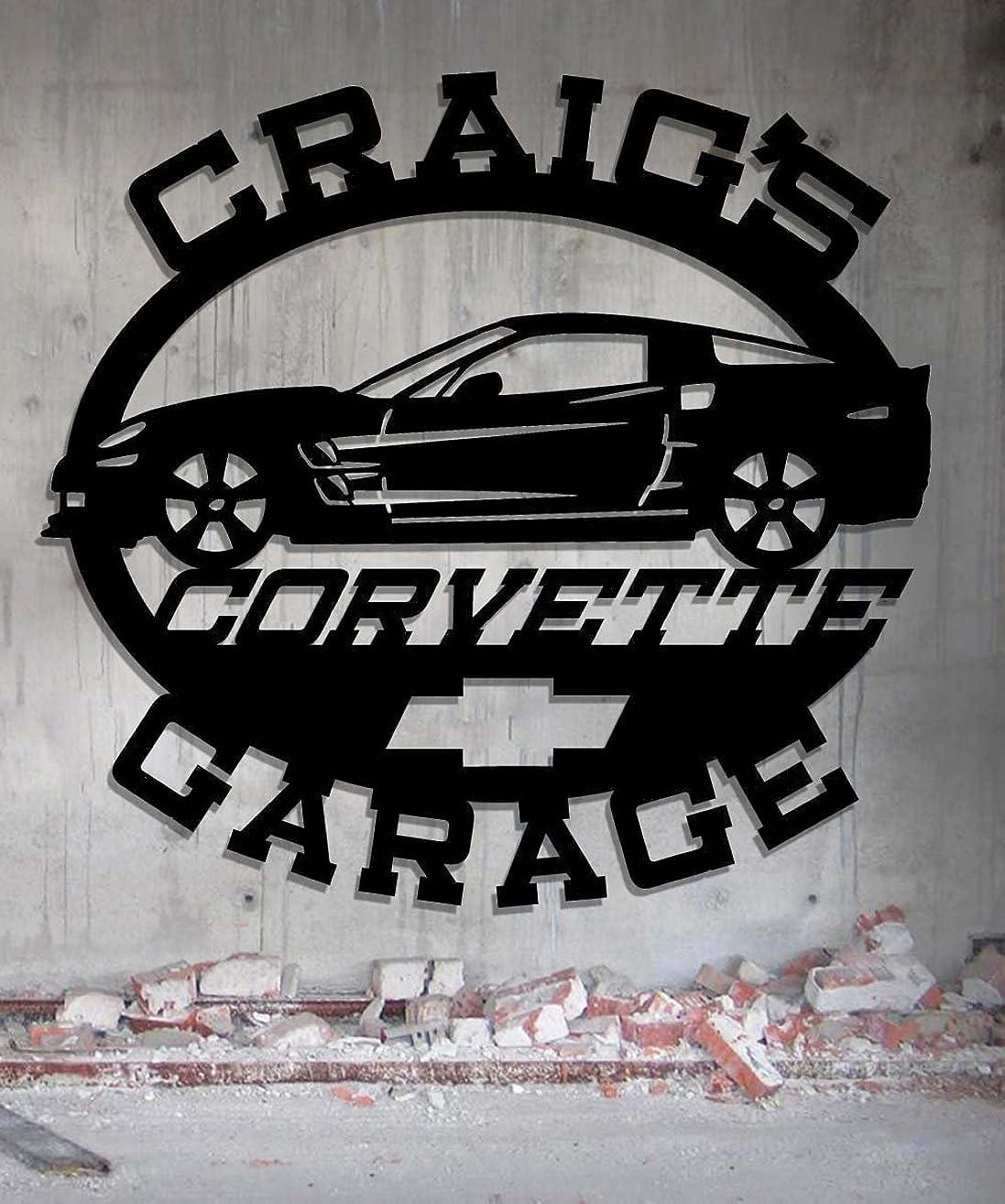 Corvette Garage - Personalized Metal Sign - Metal Wall Art -Customize It - Metal Wall Art Man Cave Gift Grandpa's Dad's Or Custom Name 23.5 Wide x 22.75 Tall