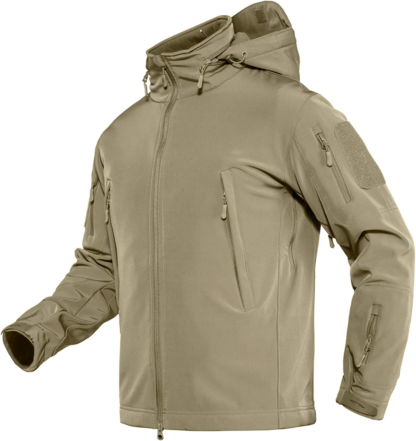 TACVASEN Men's Tactical Cheap mail order specialty Ranking TOP1 store Concealed Hooded Softshell Fleece Milita