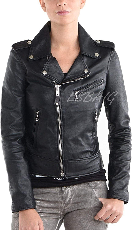 ESBAIG Womens Leather Jackets Stylish Motorcycle Bomber Biker Real Lambskin Leather Jacket for Women 535