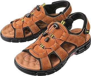 gracosy sandaler män utomhus, trekkingandaler läder platta vandringssandaler med kardborrband utomhussandaler halkfria off...