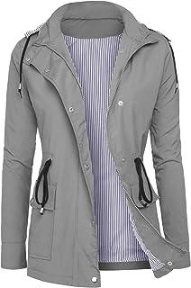 DOSWODE Women Waterproof Raincoat Lightweight Rain Jacket Hooded Windbreaker Trench Coats