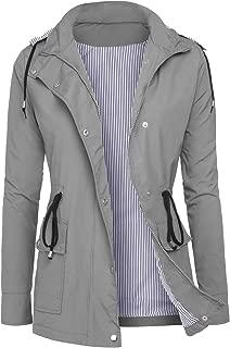 Raincoats Women Waterproof Rain Jackets Detachable Hooded Striped Lined Windbreaker for Women