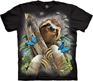 Mountain Sloth Butterflies T Shirt Black