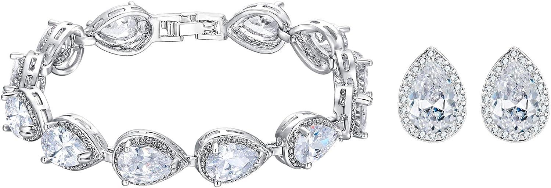 EVER FAITH Women's White Cubic Zirconia Wedding Bride Teardrop Stud Earrings Bracelet Jewelry Set