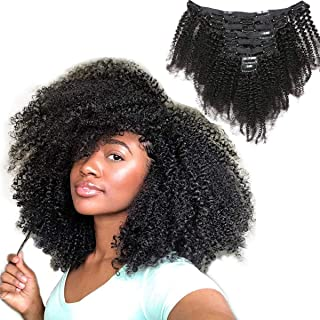 African American Afro Kinky Curly Clip in Human Hair Extensions for Black Women Human Virgin Hair Natural Black Color Full Head Thick 20 Inches 4B 4C Clip in Hair Extensions 8 Pieces per Set 120 Gram