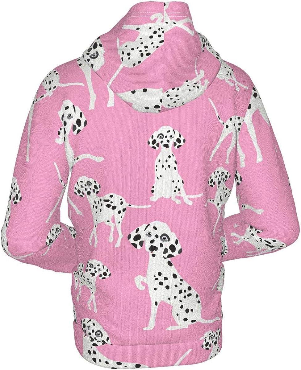 X-Peach Cute Dalmatian Dog Kids & Youth Full-Zip Fleece Hoodie Boys Graphic Hooded Sweatshirt Jacket Pockets