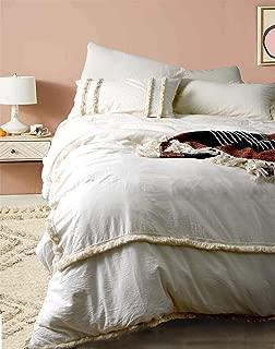 Flber Fringed Duvet Cover Tufted Boho Bedding King Size, 96in x104in
