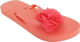 FLOSO Womens/Ladies Plain Toe Post Flip Flops With 3D Flower Detail