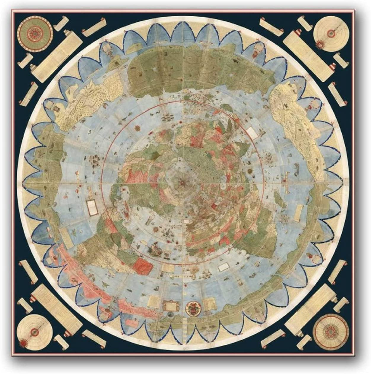OFFicial mail order FINDEMO Tierra Plana Mapa Antiguo Decorative Can Painting High quality Poster