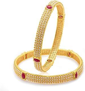 أساور مبهجة مطلية بالذهب المتلألئ للنساء من سوخي (مجموعة من 2) (32016BGLDPV900_2.8)، مقاس حر