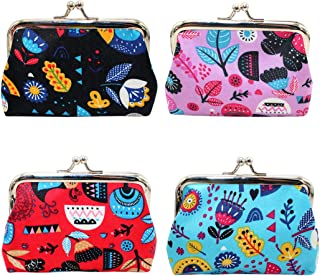 Oyachic 4 Packs Coin Purse Cute Change Purse Clutch Wallet kiss lock Pouch with Clasp Closure Gift for Girl Women