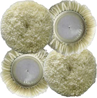 Polishing Pad Buffing Pads Kit 4PCS 3inch 100% Natural Wool Hook & Loop Grip Buffing Pad for Compound Cutting & Polishing for Car Polishing Motorcycle Washing Machine Furniture etc