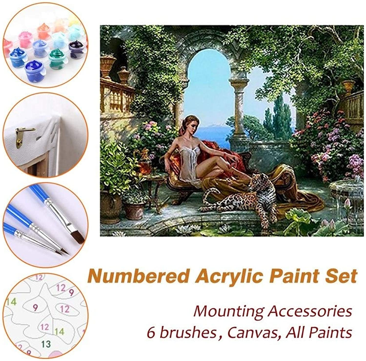 Puzzle House Paint Max Paint By Numbers Kits For Kids Adults Beginner Teens Pine Framed DIY Oil Acrylic Painting Paint Sets, Beauty And The Leopard 522 (color   With Pine Frame, Size   500mm x 650mm)