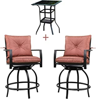Patio Festival Outdoor Bar Stools Bar Height Patio Chairs Swivel Bar Stool Patio Furniture Tall High Counter Chair Bistro Set with Glass Top Table Back Padded Cushion for Balcony Pub (3Pcs, Red)