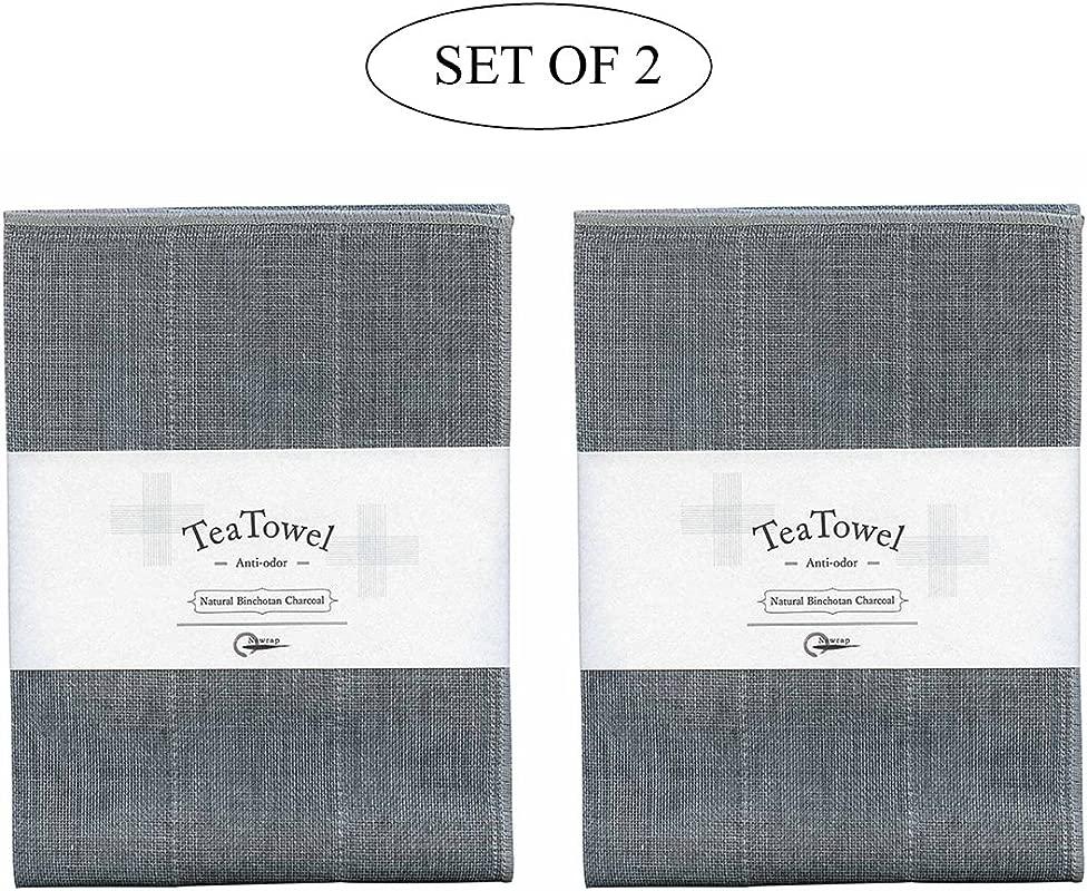 IPPINKA Nawrap Binchotan Tea Towels Set Of 2 Naturally Anti Odor 13 5 X 27