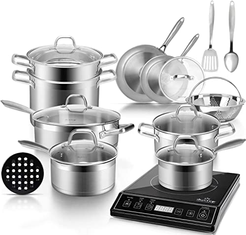 new arrival Duxtop Bundle 9100MC 1800W popular Portable Induction Cooktop, Induction Burner with 18PC Professional online sale Stainless Steel Induction Cookware Set Saucepan with Pour Spout and Strainer Lid, Impact-Bonded Technoloy outlet sale