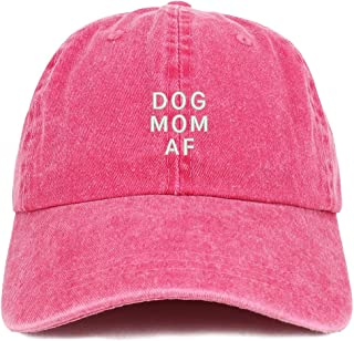 Trendy Apparel Shop Dog Mom Af Embroidered Washed Cotton Adjustable Cap