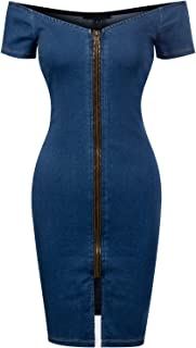 Design by Olivia Women's Off Shoulder Strapless Slim Fit Denim Zipper Up Mini Bodycon Dress
