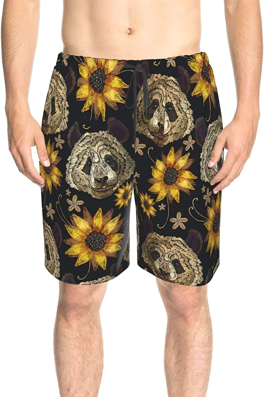 JINJUELS Men's Swim Shorts Sunflower and Panda Swim Short Boardshort Quick Dry Comfy Surf Beach Shorts with Liner