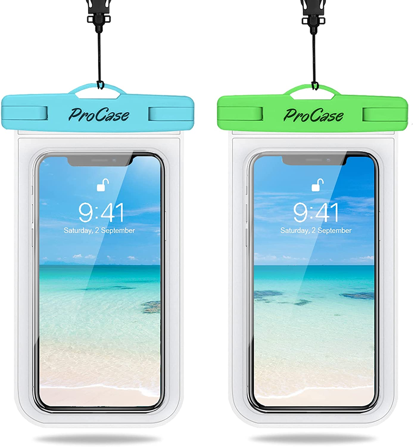 ProCase Waterproof Phone Pouch 2 Pack, Universal Cellphone Waterproof Underwater Case Dry Bag for iPhone 13 Pro Max 13 Mini 12 Pro Max 11 Pro Xs XR X 8 7 6S, Galaxy S20 S10 Pixel up to 7