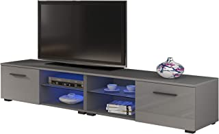 MEBLE FURNITURE & RUGS New Moon Modern TV Stand Matte Body High Gloss Doors with 16 Color LED (Gray, 81