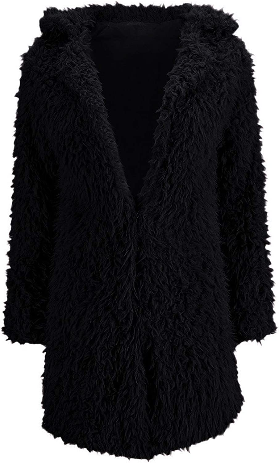 SERYU Womens Warm Faux-Fur Coat Jacket Solid Long Thick Cardigan Outerwear
