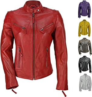 Aries Leathers Women New Biker Real Lambskin Leather Jacket WJ08