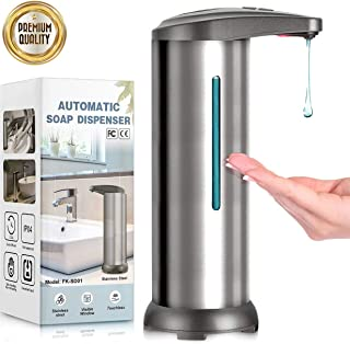 Automatic Soap Dispenser, Touchless Hands Free Stainless Steel Soap Dispenser W/Infrared Motion Sensor Newest Version Waterproof Base for Bathroom Kitchen Hotel