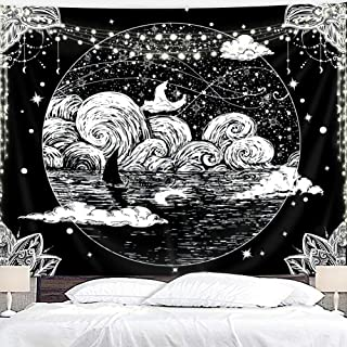 Homewelle Moon and Star Tapestry Starry Night Sky Stars Ocean Wave Black and White Indian Hippie The Great Wave of Kanagawa 59Wx51L Inch Art Wall Hanging Bedroom Living Room Dorm Decor Fabric