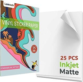 Sticker Paper, 25 Sheets Printable Sticker Paper for Inkjet Printer, Waterproof Printable Vinyl for Inkjet Printer, Dries ...