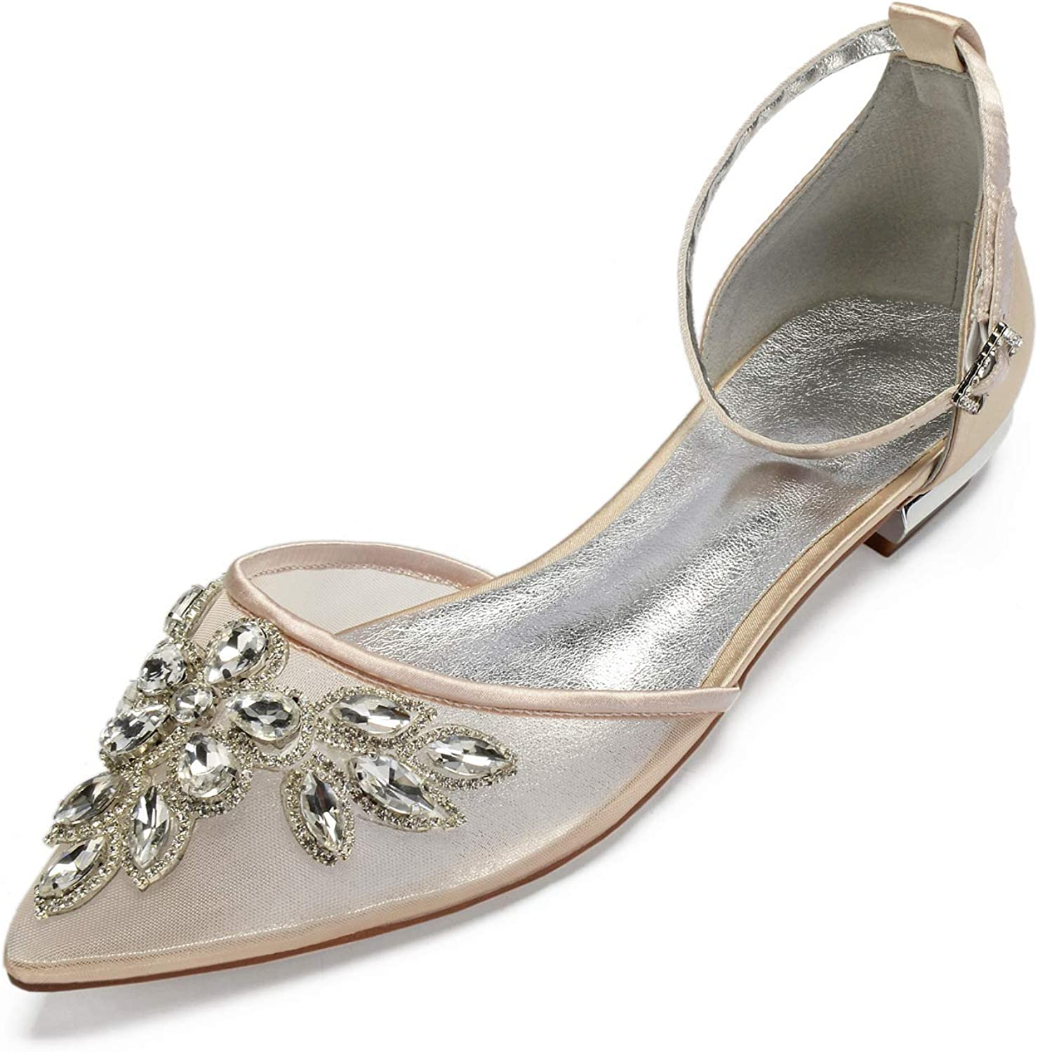 LLBubble Women Comfort Flat Crystals Wedding shoes for Bride Pointed Toe Ankle Strap Buckle Formal Party Dress Pumps 5047A-6 9 11