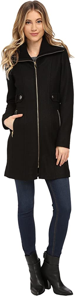 Boiled Wool Coat w/ Knit Collar and Side Tabs