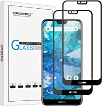 (2 Pack) Orzero for Nokia 7.1 Tempered Glass Screen Protector (Full Adhesive), 2.5D Arc Edges 9 Hardness HD Anti-Scratch Full-Coverage (Lifetime Replacement Warranty)