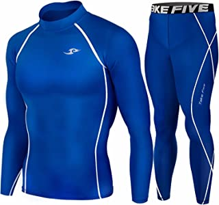 Take Five Skin Tight Compression Base Layer Long Sleeve High Neck Shirts and Long Pants SET