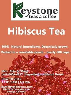 Hibiscus Tea- Cut and Sifted (3Lbs Bulk Bag) – 600+Cups 100% natural grown loose leaf tea help lower blood pressure, caffeine free, Flor De Jamaica