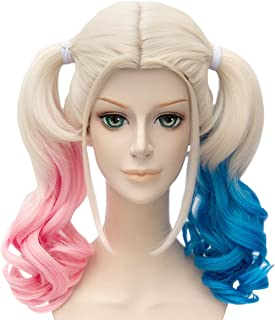 Angelaicos Womens Lolita Gradient Color Highlights Party Costume Hair Full Wigs (45cm Blonde Pink Blue)