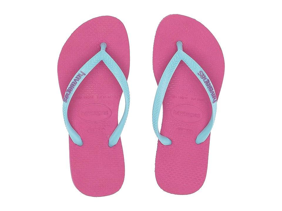 Havaianas Kids Slim Logo Pop-Up Flip Flops (Toddler/Little Kid/Big Kid) (Hollywood Rose/Ice Blue) Girls Shoes