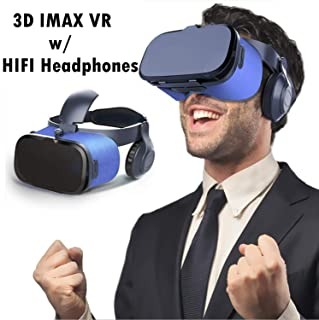 """VR Headset/Glasses, Updated Virtual Reality Headset 3D VR Goggles w/HiFi Headphones for 3D Movie Game Video for iPhone Xs X 10 8 7 6 S Plus Samsung Galaxy S9 S8 S7 S6 Edge + etc 4.0-6.0"""" Cellphone"""