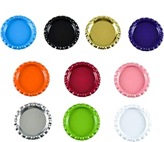 AQUEENLY 100 PCS Flat Bottle Caps, Mixed Colors Bottle Caps for DIY Craft Scrapbooks Hair Bows Photo Pendant Jewelry Making, 1 Inch