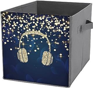 Cubes de rangement pliables en toile bleu marine avec paillettes dorées et étoiles, à pois, pour la maison, grande capacit...
