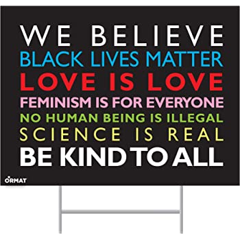 Corrugated Plastic Outdoor Sign BLACK LIVES MATTER  Yard Sign with Metal Stake