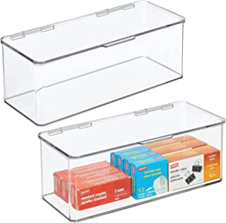 mDesign organiseur bureau pour ranger stylos, carnets, etc. (lot de 2) – boite de rangement en plastique sans BPA – boite ...