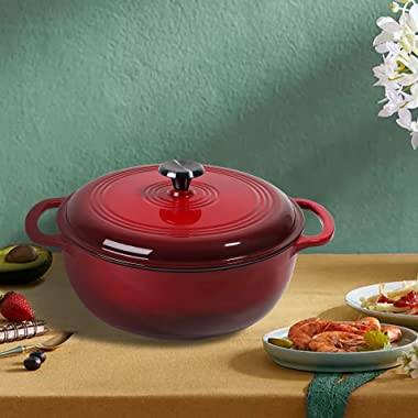 Enameled Cast Iron Covered Dutch Oven, 6-Quart,Bread Baking Pot with Lid, RED