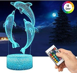 LED Lámpara de Mesa 3D Delfines con Control Remoto Sensor