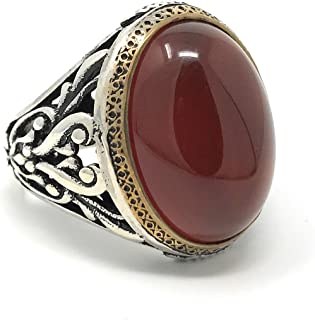 KAR 925K Stamped Sterling Silver Filigree Red Agate (Aqeeq) Men's Ring I1J