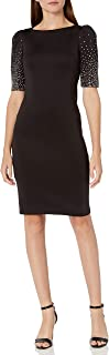 Calvin Klein Women's Wide Neck Sheath with Elbow Sleeves Dress