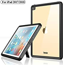 Temdan iPad 2017/iPad 2018 Waterproof Case Rugged Sleek Transparent Cover with Built in Screen Protector Waterproof Case for Apple iPad 2017/2018 9.7 inch (Black)