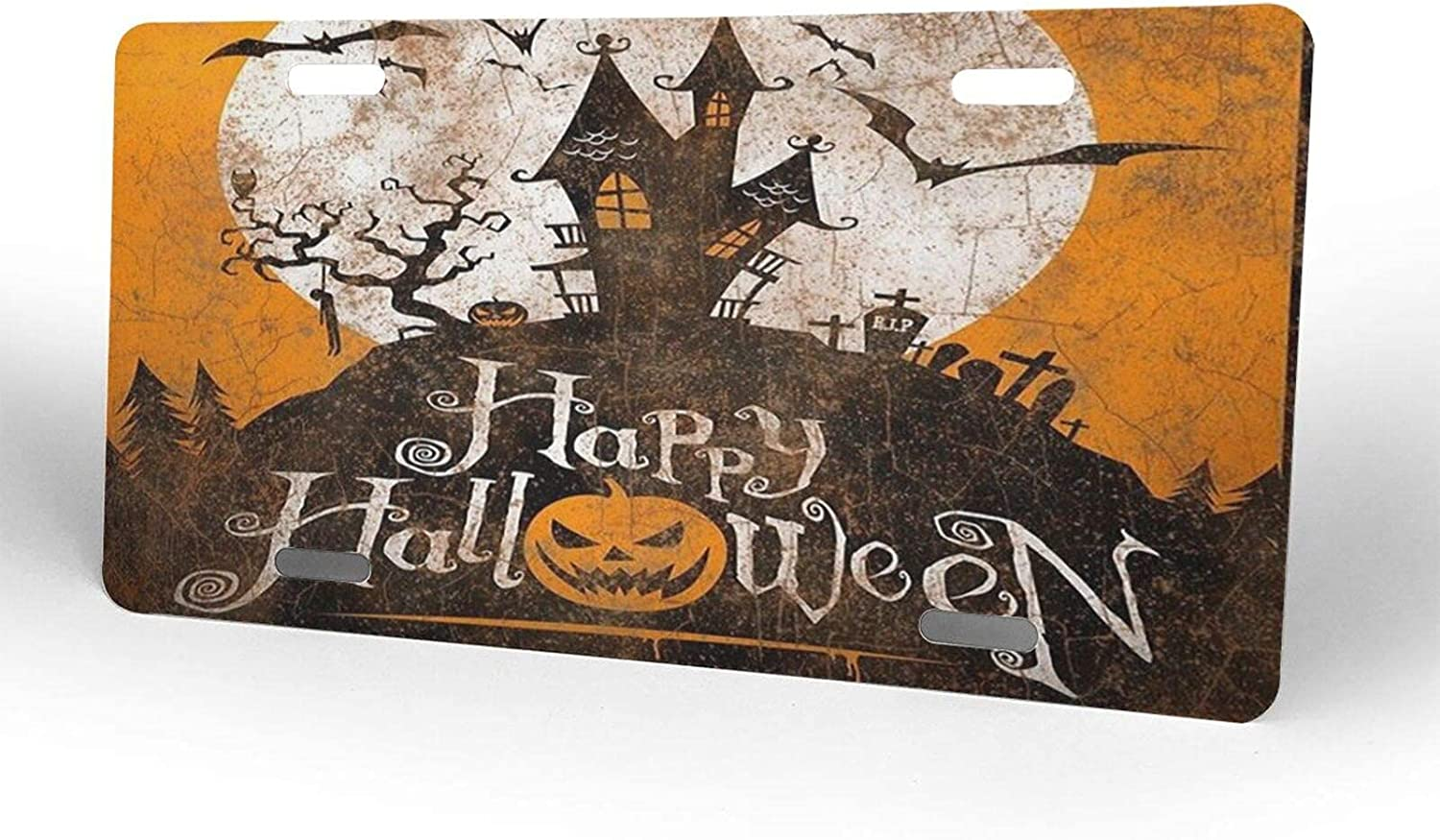 Halloween Moon Castle Attention brand Bat License Lice Metal Cover Ranking TOP7 Novelty Plate